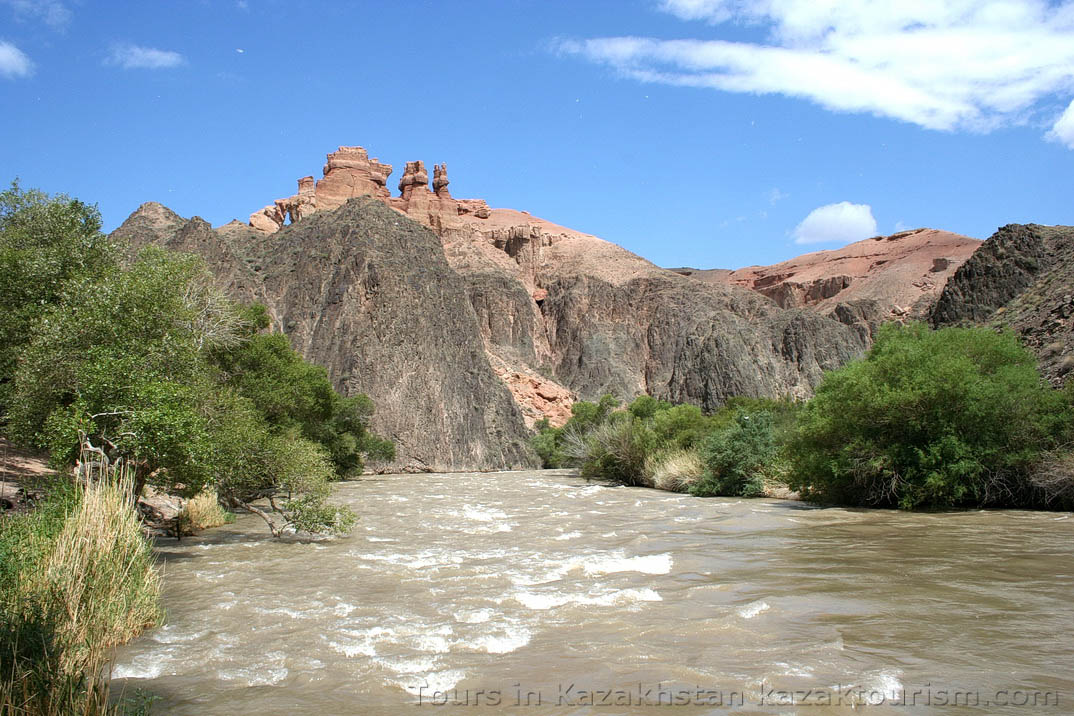 The Charyn Canyon. The Valley of Castles. Charyn river.
